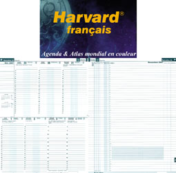 Harvard français. Two pages per week. Timetable on the left-hand page. Actions and notes on the right-hand page