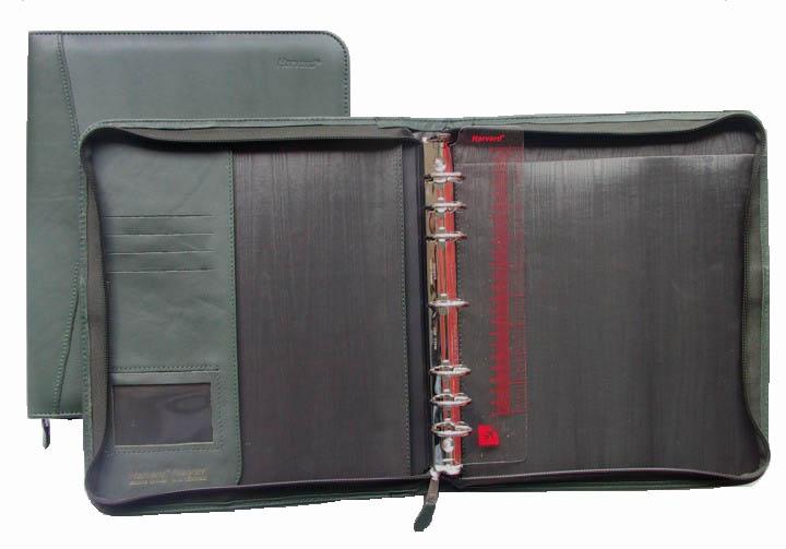 Porte-documents en cuir vert, 7 anneaux (code 1PM)
