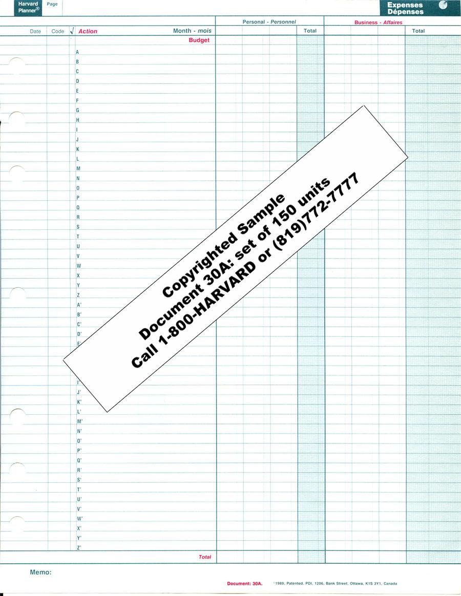 Expense Log (code 30A)