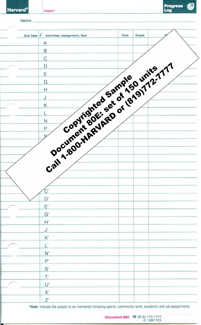 Progress Log (code 80E)