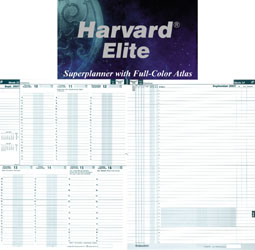 Harvard Elite English, Two pages per week, dates on the left hand page and actions on the right hand page.