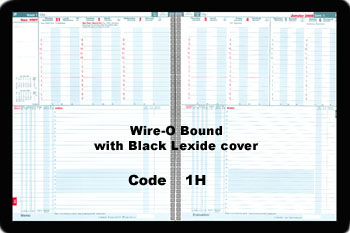 Harvard International Bilingual. Two pages per week, dates at the top and actions below. Wire-O with Black Lexide Cover