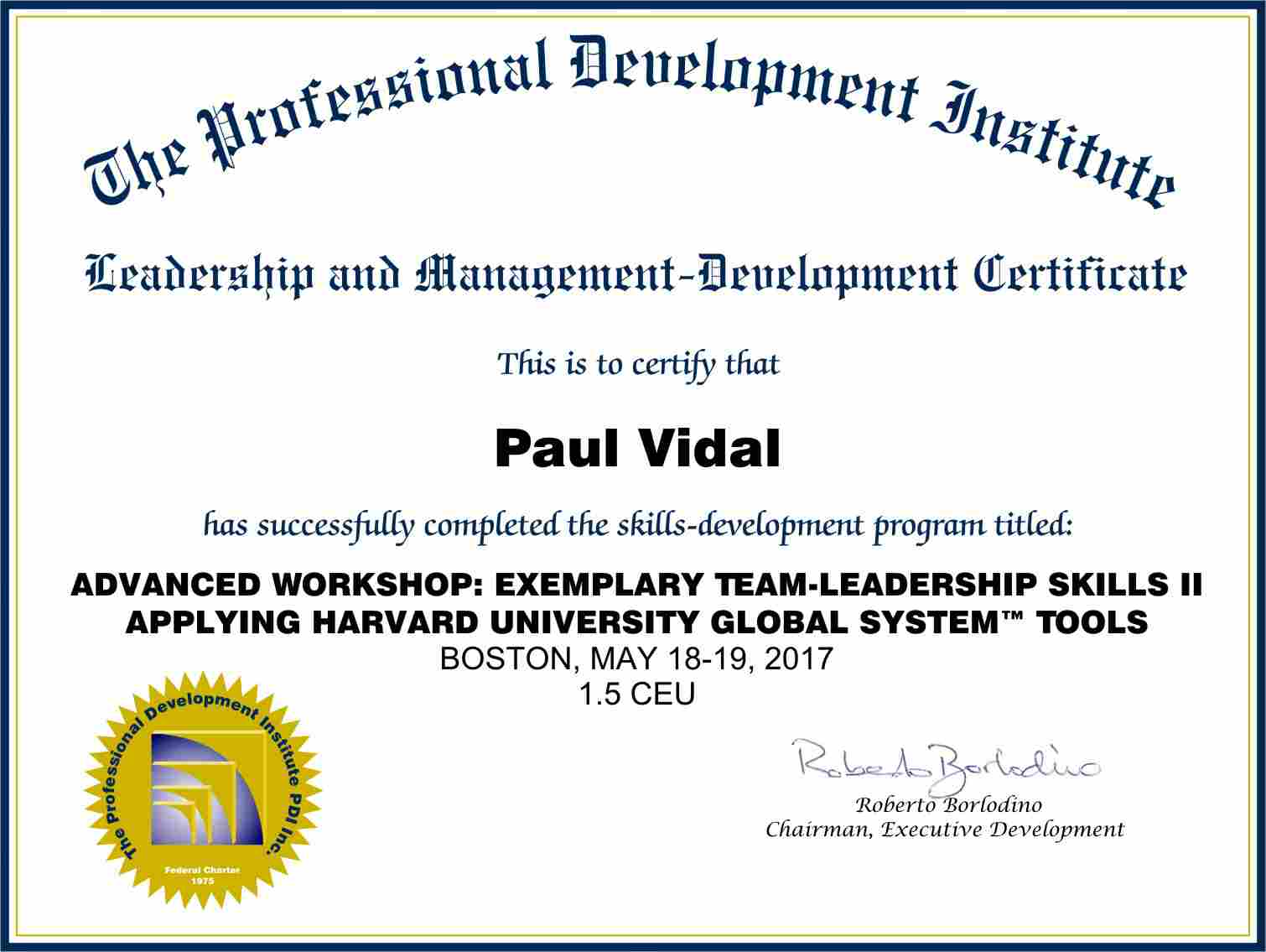 Advanced Workshop Certificate for Exemplary Team Leadeship II